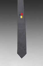 Silk Tie w/Hand-Rolled Point Blade in Grey/Multi-Color