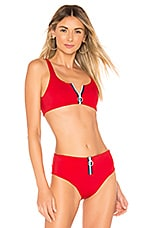 SKYE & staghorn Aaya Zip Front Crop Bikini Top in Crimson Red
