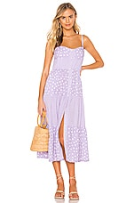 Solid & Striped Button Up Tiered Dress in Lavender Scattered Polka Dot