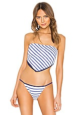Solid & Striped Bianca Bikini Top in Navy & Cream Breton