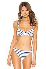 Solid & Striped Eva Logo Bikini Top in Navy & Cream Breton