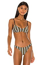 Solid & Striped Rachel Bikini Top in Olive, Cream & Black