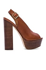 Skinny Platform in Brown Leather