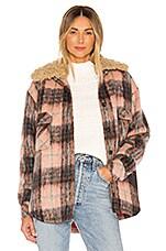 Smythe Faux Fur Collar Workwear Jacket in Buff Plaid