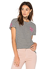 Embroidered Stripe Tee in Stripes