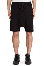 Drop Crotch Sport Short in Black