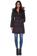 Soia & Kyo Delphie Brushed Down Coat with Asiatic Raccoon Fur in Black
