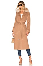 Soia & Kyo Ivonne Coat With Fur Collar in Almond