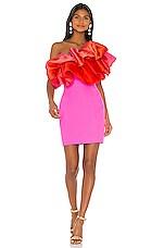 SOLACE London Finley Mini Dress in Hot Pink & Blood Orange Ombre