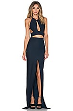 SOLACE London Ferrara Maxi Dress in Black & Blue