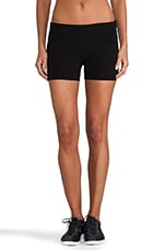 Fold Over Yoga Shorts in Black