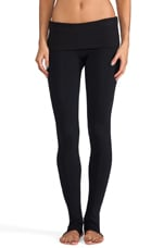 Eclon Legging with Footholes & Fold Over Waistband in Black
