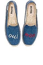 Oui Non Embroidered Smoking Slipper en Navy Linen