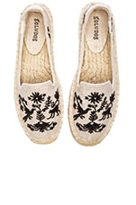 Otomi Embroidered Smoking Slipper en Sable & Noir