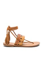 Flat Lace Up Sandal in Tan