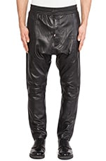 Ziggy Drop Crotch Leather Sweatpant in Black