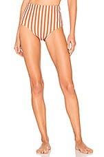 Storm Cannes High Waist Bikini Bottom in Sunburnt Stripe