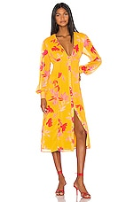 Song of Style Kofi Midi Dress in Yellow Floral
