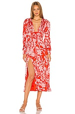 Song of Style Dawson Midi Dress in Red Dahlia