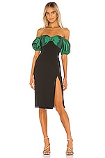 Song of Style Beth Midi Dress in Green & Black