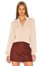 Song of Style Rivka Zip Up Sweater in Light Beige