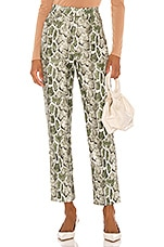 Song of Style Maud Faux Leather Pant in Green Snake