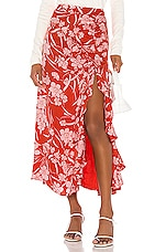 Song of Style Zahir Midi Skirt in Red Dahlia