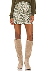 Song of Style Cicily Faux Leather Mini Skirt in Green Snake