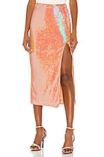 Song of Style Brielle Midi Skirt in Opaline Peach