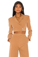 Song of Style Sadie Blazer Top in Cedar Brown