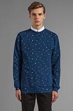 Gee Raglan Sweatshirt w/ Allover Print in Raw Blue