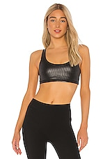 SPANX Low Impact Faux Leather Bra in Very Black