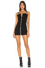superdown Darcie Overall Mini Dress in Black Denim