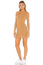 superdown Helene One Shoulder Dress in Camel