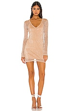 superdown Melody Sheer Mini Dress in Rose Gold