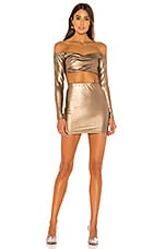 superdown Ira Off Shoulder Mini Skirt Set in Bronze
