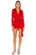 superdown Sophie Draped Mini Dress in Red