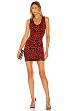 superdown Mandie Racer Knit Dress in Red Leopard