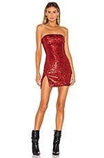 superdown Irene Strapless Mini Dress in Red Leopard
