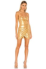 superdown Liza Mini Dress in Gold Metallic