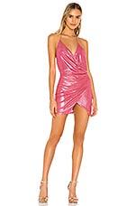 superdown Missie Wrap Front Dress in Pink Metallic