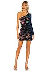 superdown Tahlia One Shoulder Dress in Black Multi