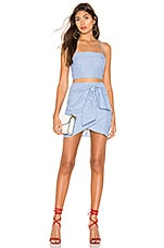 superdown Tasha Wrap Skirt Set in Blue & White