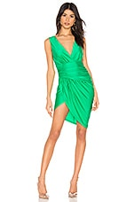 superdown Roa Ruched Wrap Dress in Kelly Green