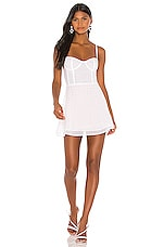 superdown x Draya Michele Carina Sheer Rhinestone Dress in White