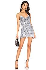 superdown Carmella Chiffon Mini Dress in Blue Plaid