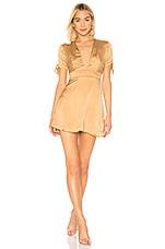 superdown Ava Tie Sleeve Dress in Gold Polka Dot