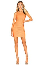 superdown Tanisha Ruched Mini Dress in Orange Sorbet
