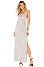 superdown Kamari Satin Maxi Dress in White Polka Dot
