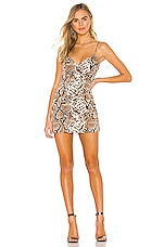 superdown Marie Deep V Mini Dress in Snake Print